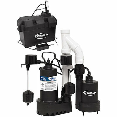 ProFlo PF92952 - 1/3 HP Combination Primary & Backup Sump Pump System