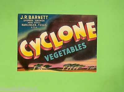 #d87. Old Label For Cyclone  Vegetables, Texas