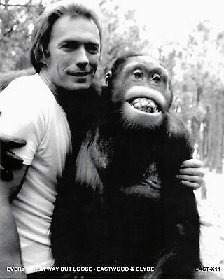 """Clint Eastwood & Clyde  B&W 8""""x10"""" Photo Copy Every Which Way But Loose EAST-X11"""