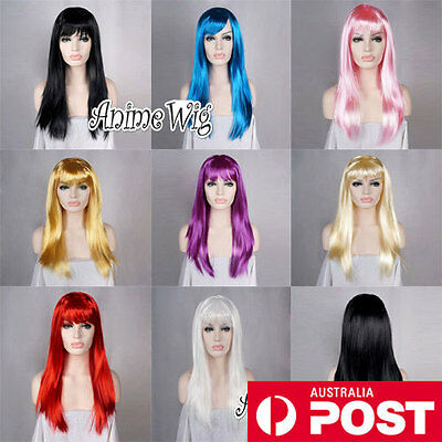 60CM Long Purple/Pink/Red/Blonde/Blue Fancy Dress Costume Cosplay Party Wig