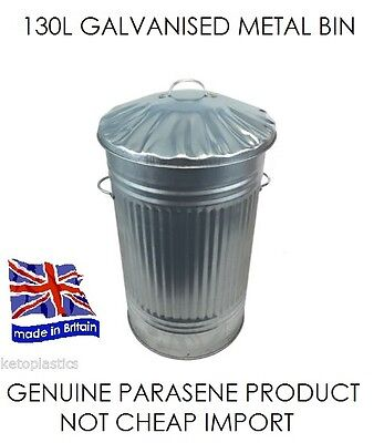130L Extra Large / Xl Galvanised Metal Bin / Garden / Waste / Rubbish / Recycle