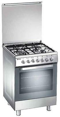 Gas cooker 60x60 cm inox, 4 burners, gas oven - Tecnogas D62NXS