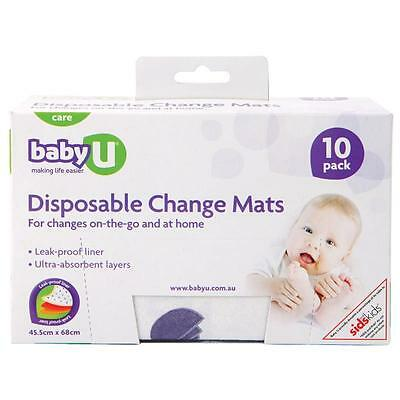 HOT DEAL! >> BABY U DISPOSABLE CHANGE MAT 10 PACK x 8 boxes **BULK BUY**