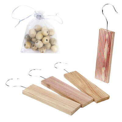 20 Cedar Wood Moth Balls & 4 Hang Ups Natural Repellent Wardrobe Clothes Drawer
