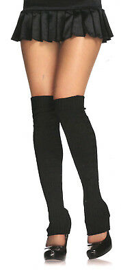 "Leg Avenue 3913 Leg Warmers Ribbed Acrylic Knit Over Knee 24""XLong 20""Tops Black"