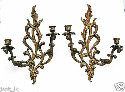 """Vintage Pair of Brass Cast 2-Arm Wall Sconces, Candle holders 16 1/2"""" Nice"""