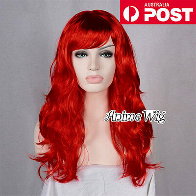 Women's Fashion 60CM Long Red Curly Fancy Dress Costume Cosplay Party Wig