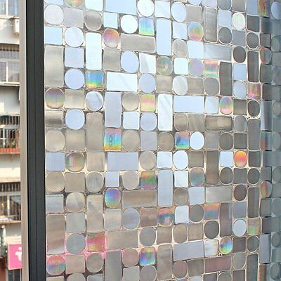 3D Reflective Frosted Etched Glass Static Decorative Vinyl Privacy Window Film