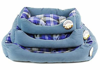 Sweet Dreams Faux Suede & Tartan Dog Bed & Reversible Cushion by World of Pets