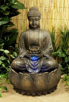 Buddha Water Feature Fountain Cascade Bronze Effect Coloured Lights Lightweight