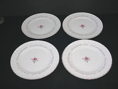 Lot of 4 Royal Swirl Japan Rose Dinner Plates Fine China