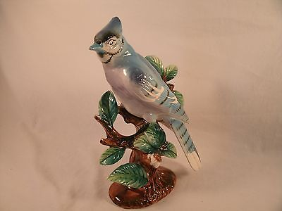 Very Pretty Vintage 9 Inch Ceramic Hand Painted Blue Jay Figurine Japan