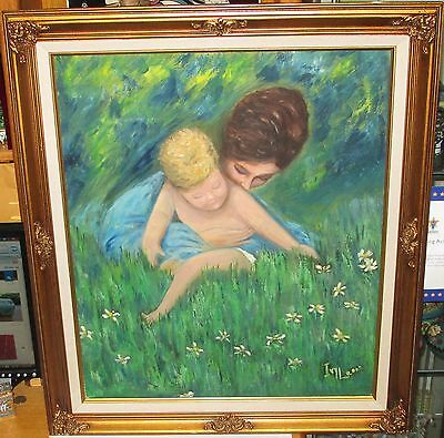 IVY LEONE MOTHER AND CHILD ORIGINAL OIL ON BOARD FOLK PAINTING