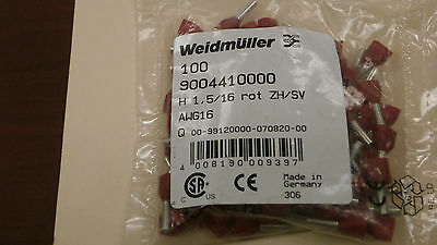 Weidmuller 9004410000 New Red Wire End Ferrules (16 AWG)