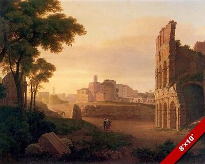 ANCIENT ROMAN FORUM RUINS AT SUNSET PAINTING ROME ITALY ART REAL CANVAS PRINT