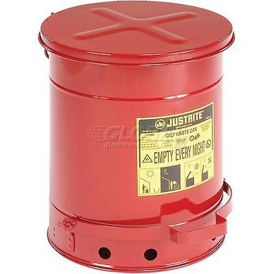 10 Gallon Justrite Oily Waste Can - Red