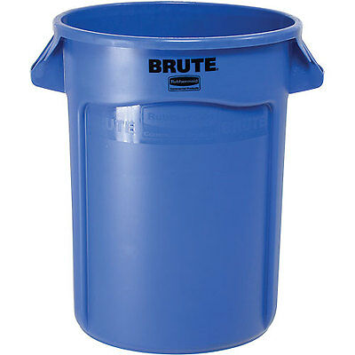 Rubbermaid Brute 2632 Trash Container W/Venting Channels, 32 Gallon - Blue