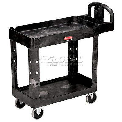 "Rubbermaid 4500-88 Tray Shelf Plastic Service Cart 2 Shelves 5"" Casters"