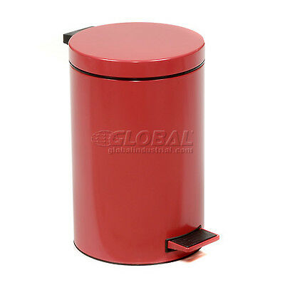 Global 3-1/2 Gallon Step On Trash Can - Red