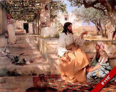 Mary Kneeling At Jesus Feet Martha Painting Bible Scene Art Real Canvas Print