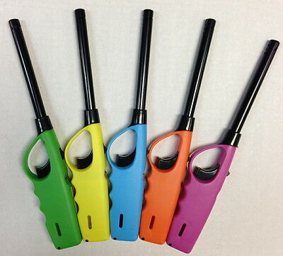"4 Pack 9.5"" Refillable Butane Gas Bbq Grill Lighters Multi Purpose 4 Asst Colors"