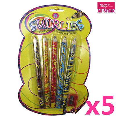 25 Coloured Pencils Multi Color and Sharpener Craft Kids Drawing Art P408x5
