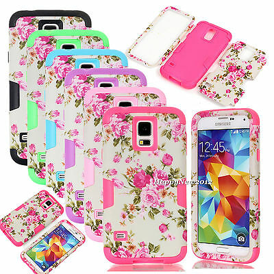 For Samsung Galaxy S4 S5 Peony Flower Dual Layer Hybrid Shockproof Matte Case