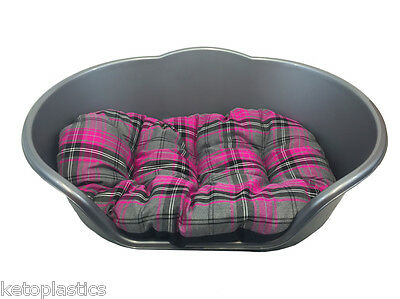 Medium Plastic Silver / Grey With Pink Tartan Cushion Pet Bed Dog/ Cat