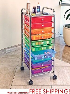 Rolling Storage Cart Rolling File Carts 10 Drawer Cart Bins Scrapbook Office NEW