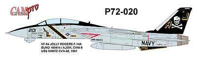 CAM PRO DECAL, 1/72 SCALE, P72-020, VF-84 Jolly Rogers, F-14A