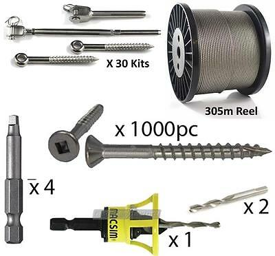 10g x 50mm Stainless Steel Decking Screws and Wire Balustrading Kit