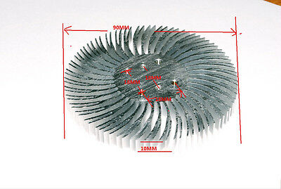 90x10mm Round Spiral Aluminum Alloy Heat Sink for 1W-10W LED Silver White A261