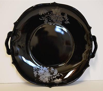 L.E. Smith Mt. Pleasant Black Amethyst Glass 2 Handled Serving Plate Dish Floral