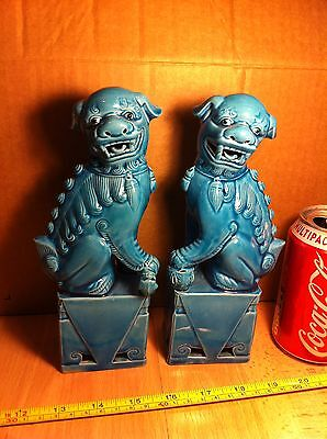 """Chinese Vintage Pair of Turquoise Blue Teal Foo Dogs Dogs of Foe Porcelain 8"""""""
