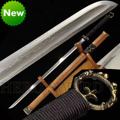 Han Dynasty Sword Damascus Folded Steel Full Tang Blade Sharp Chinese Sword