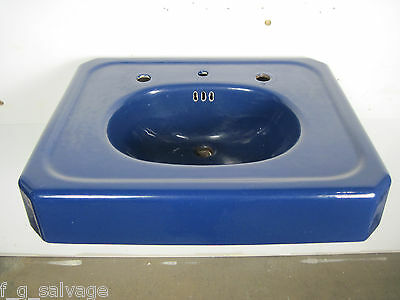 Antique Vintage American Standard Cast Iron Bathroom Sink Blue 'Clyde' 1930's