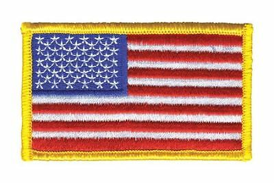HEROS PRIDE 0001HP Embroidered Patch, U.S. Flag, Medium Gold