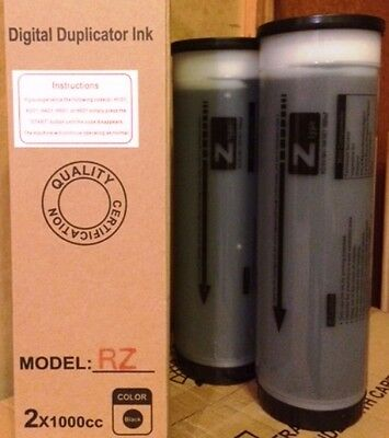 2 Riso S-4254/53 Black Z Type Ink Tubes for Risograph RZ/EZ/MZ Series Duplicator