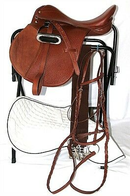 16 Inch All Purpose English Saddle Package - Medium Chestnut  -All Leather - FS