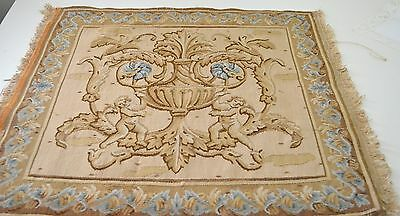 Magnificent Antique Large Hand Woven Tapestry Square With Urn And Putti  Pp111