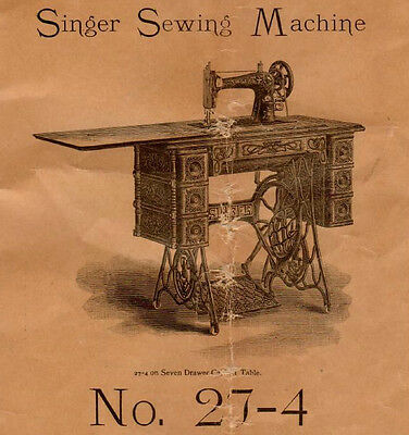 1903 Antique Manual Instruction No. 27-4 Singer Sewing Machine Form 7613, 7475