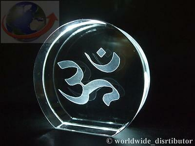 Laser Crystal Paperweight Om Aum Hindu Religious 3742 Presentation Boxed