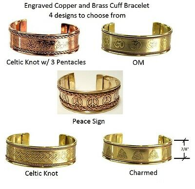 Engraved Copper and Brass Cuff Bracelet  5 designs to choose from