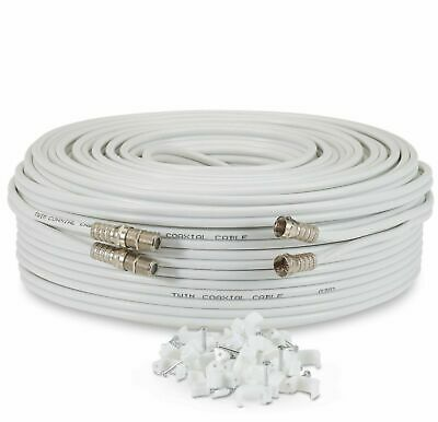 10m Metre White Twin Satellite Sky HD+ Extension Cable Lead Coax Shotgun Fitted