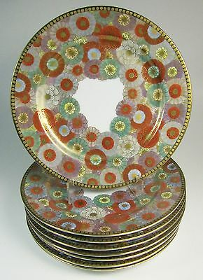 Eight Antique (1920s-1930s) NIKKO Japan Hand Painted Chrysanthemum Plates 9 3/4""