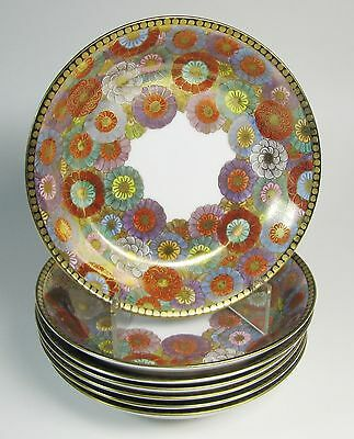 Eight Antique (1920s-1930s) NIKKO Japan Hand Painted Chrysanthemum Soup Bowls