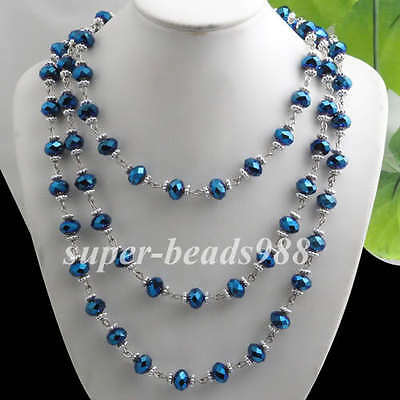 "Fashion Blue Ray Crystal Faceted Beads Gem Necklace Long Chain 54"" SF109"