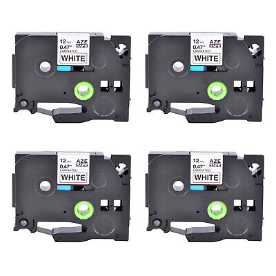 4PK Black on White 12mm Label Tape Compatible for Brother TZe 231 P-Touch 26.2ft