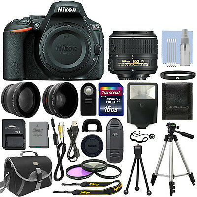 Nikon D5500 Digital SLR Camera Black + 3 Lens: 18-55mm VR Lens + 16GB Bundle
