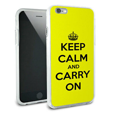 Keep Calm and Carry On Yellow Hybrid Rubber Bumper Case for Apple iPhone 6 Plus